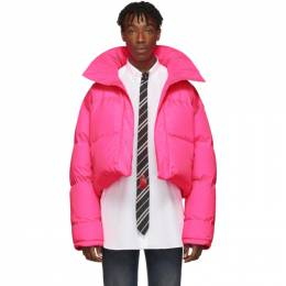 Vetements Reversible and Convertible Pink Down Fluorescent Puffer Jacket 192669M17800201GB