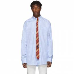 Vetements Blue and White Stripe Tie Shirt 192669M19201201GB
