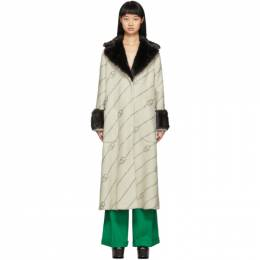 Gucci Off-White Faux-Fur Collar Crystal GG Coat 192451F05900503GB