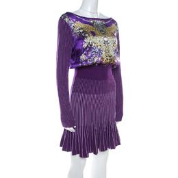 Roberto Cavalli Class Purple Printed Silk & Knot Jersey Dress M 218631
