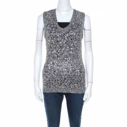 Zac Posen Grey Sequin Paillette Embellished Knit Vest L 215693