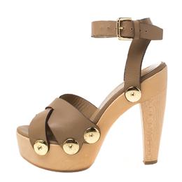 Loriblu Brown Leather Ankle Wrap Platform Sandals Size 38 218708