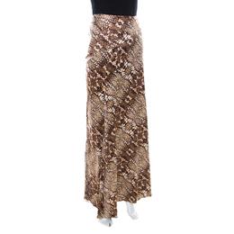 Just Cavalli Brown Snake Print Silk Satin Flared Maxi Skirt M 218061