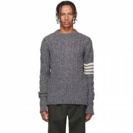 Thom Browne Grey Aran Cable 4-Bar Sweater 192381M20100505GB