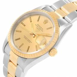 Rolex Champagne 18K Yellow Gold and Stainless Steel Date 15223 Men's Wristwatch 34MM 219069
