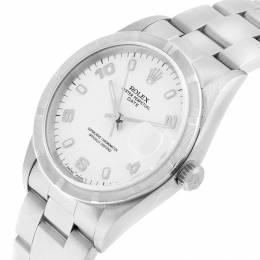 Rolex White Stainless Steel Date 15210 Men's Wriswatch 34MM 219066