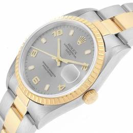 Rolex Silver 18K Yellow Gold and Stainless Steel Date 15223 Men's Wristwatch 34MM 219070