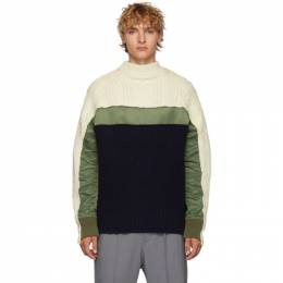 Sacai Off-White and Navy Wool Pullover Turtleneck 19-02118M