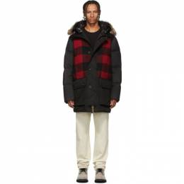 Woolrich Black and Red Down Buffalo Wool Jacket 192496M17800102GB