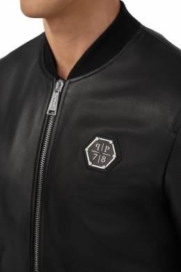 Черная кожаная куртка на молнии Philipp Plein 1795147293