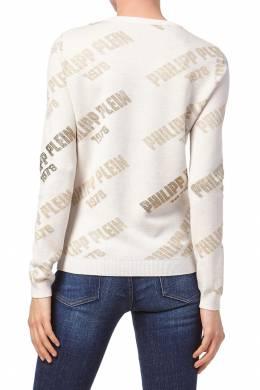 Бежевый пуловер с принтом и стразами Philipp Plein 1795147249
