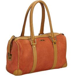 Gucci Orange/Brown Suede Leather Boston Bag