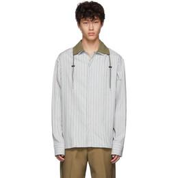 Lanvin Grey Drawstring Striped Shirt 192254M19200106GB