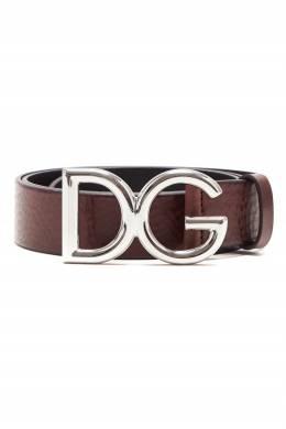 Коричневый ремень с пряжкой-монограммой Dolce&Gabbana 599146906