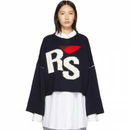 Raf Simons Navy Oversized Intarsia Logo Sweater 192287F09601401GB
