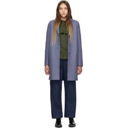 Harris Wharf London Blue Wool Cocoon Coat 192709F05902602GB