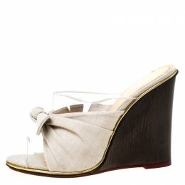Charlotte Olympia Grey Canvas And PVC Theresa Knot Detail Peep Toe Wedge Slides Size 39 218692