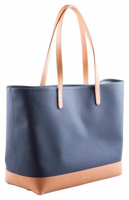 Mansur Gavriel Blue/Cream and Cammello Canvas and Leather Tote 203399