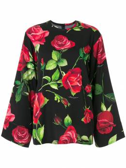 Dolce & Gabbana - блузка с широкими рукавами и цветочным принтом M5TFSAY9956895630000