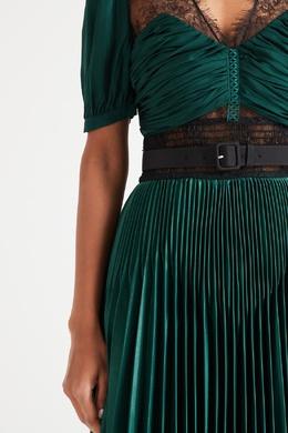 Зеленое платье с кружевными вставками Self-portrait 532148128
