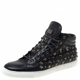 Philipp Plein Black Leather Star And Spike Studded High Top Sneakers Size 43 219696