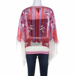 Roberto Cavalli Class Multicolor Floral Printed Silk Ribbed Detail Top L 219243