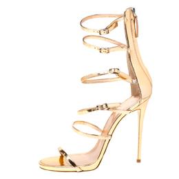Giuseppe Zanotti Design Metallic Rose Gold Leather Open Toe Gladiator Sandals Size 39.5