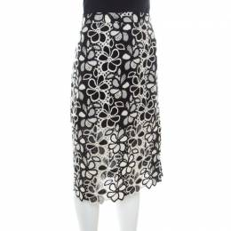 Boutique Moschino Monochrome Floral Lace Pencil Skirt L