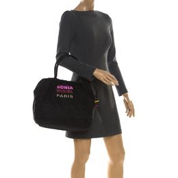 Sonia Rykiel Black Nylon Drawstring Shoulder Bag