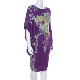 Roberto Cavalli Class Purple Animal & Floral Print Draped Asymmetric Dress M 218586