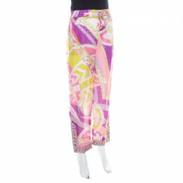 Emilio Pucci Multicolor Abstract Print Sheer Silk Elasticized Waist Trousers S