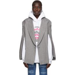 Vetements Grey Open Sleeve Blazer 192669F05700201GB