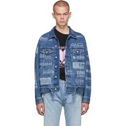 Vetements Blue Fully Branded Denim Jacket 192669M17700104GB