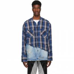 Greg Lauren Blue 50/50 Plaid/Denim Studio Shirt 192933M19200504GB