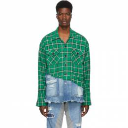 Greg Lauren Green and Blue 50/50 Plaid/Denim Studio Shirt 192933M19200401GB