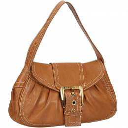 Celine Light Brown Leather Shoulder Bag