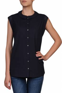 Темно-синяя блуза с кружевной отделкой Tommy Hilfiger 2838148983