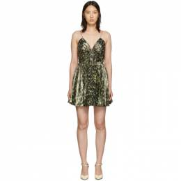 Saint Laurent Gold Leopard Metallic Pleated Short Dress 573381 Y324V