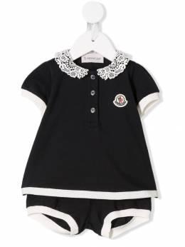 Moncler Kids платье и трусики с кружевной отделкой 88588058496F