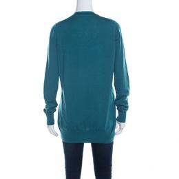 Loro Piana Jade Green Cashmere Button Front Cardigan L 219695