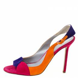 Sergio Rossi Multicolor Suede Open Toe Slingback Sandals Size 40