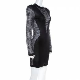 Balmain Black Sheer Lace Paneled Mini Bodycon Dress M 219489