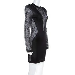 Balmain Black Sheer Lace Paneled Mini Bodycon Dress M