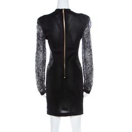 Balmain Black Sheer Lace Paneled Mini Bodycon Dress M 219489