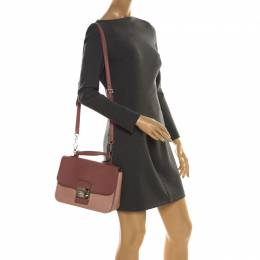 Miu Miu Pink Leather Madras Crossbody Bag