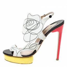 Nicholas Kirkwood Multicolor Flower Leather and Python Platform Sandals Size 39 219838