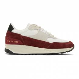 Common Projects White and Red Track Classic Low Sneakers 192133M23706806GB