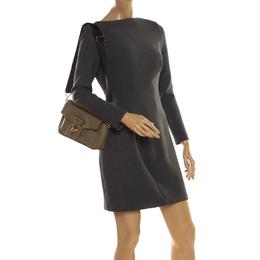 Karl Lagerfeld Olive Green Leather K/Pin Closure Crossbody Bag