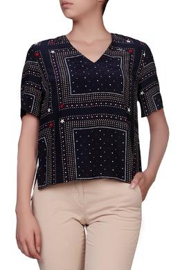 Синяя блузка с принтом Tommy Hilfiger 2838149857