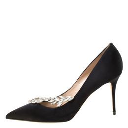 Manolo Blahnik Black Satin Embellished Nadira Pumps Size 40